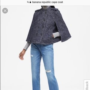Blue Banana Republic Navy Wool Cape Coat
